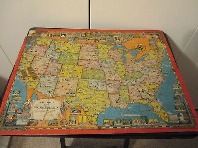 Vintage PUZZLE 1941 AMERICA THE WONDERLAND Pictorial Map ERNEST DUDLEY CHASE