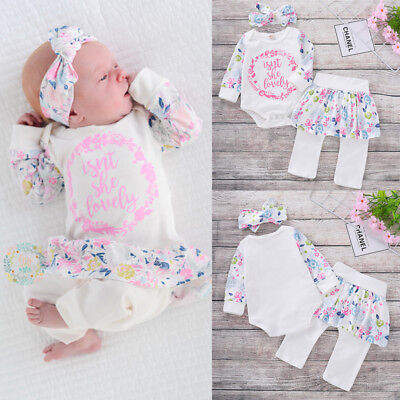 Princess Baby Girl Sweet Tops Romper+Dress Pants+Headband Outfits Set Clothes
