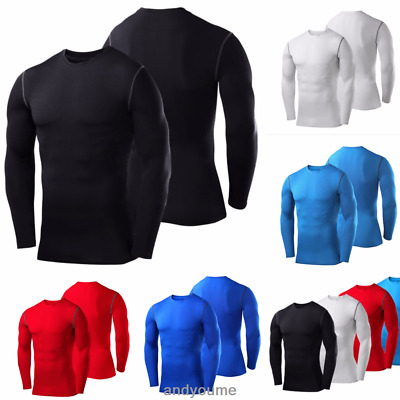 Mens Body Armour Compression Base Layers Thermal Under Shirt Top Gym Fitness Dry