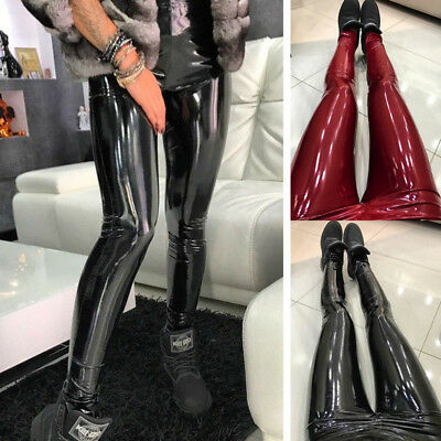 Women Strethcy Shiny Wet LOOK Leggings Trouser PU Leather Pencil Pants Bottoms