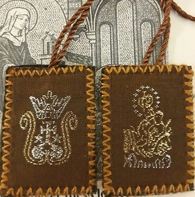 EMBROIDERED The Brown Wool Scapular Gld Our Lady of Mt Carmel+Pamphlet Jesus Lot