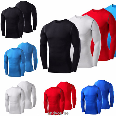 Mens Body Armour Compression Base Layers Thermal Under Shirt Top Gym Quick Dry