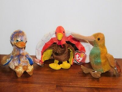 Lot 3 TY Beanie Babies Birds Stuffed Plush Baby DINKY DODO TURKEY GOBBLES BEAK