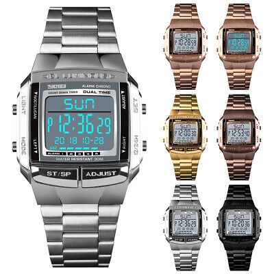 Men Dual Time Digital Date Watch Stainless Steel Alarm Waterproof Wrist Watch