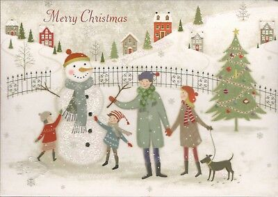 16 ct CHRISTMAS CARDS  ENVELOPES FAMILY BUILDING SNOWMAN SNOW GLITTER NEW IN BOX