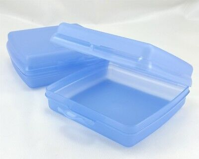 "Tupperware 3752D Sandwich Keepers Aqua Blue 5"" x 5"" x 2"" ~ Made in the USA"