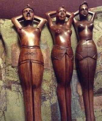 Set of 3 vintage hand carved wood topless nutcrackers from the Philippines.