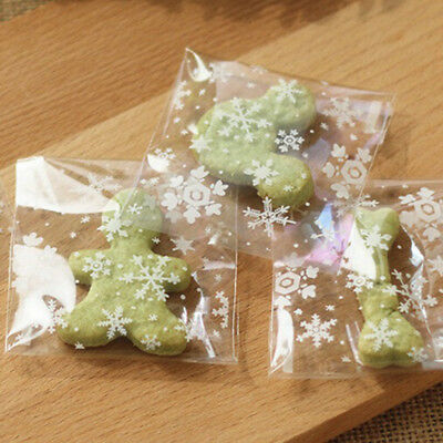 100Pcs Snowflake Cellophane Party Candy Gift Christmas Bag Cookie Biscuits Sweet