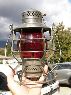 Oregon Short Line 1909 Adams Tall Globe Railroad Lantern Matching Red Cast Globe