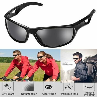 Polarized Sports Sunglasses w/ TR90 Frame for Ski Driving Golf Running Cycling