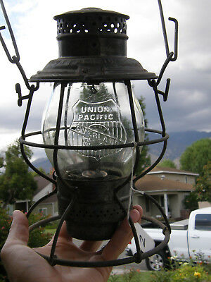 Union Pacific Tall Globe Railroad Lantern Heavy Cast Overland Logo