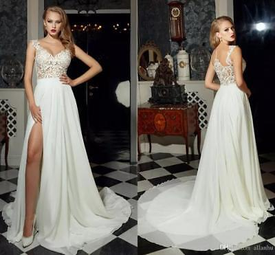Beach Boho Lace Wedding Dress Sheer Neck Split Chiffon Bridal Gown Size 4 6 8 ++
