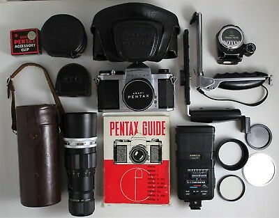 Vintage Asahi Pentax S1a Film Camera with 2 lenses, Flash + Accessories