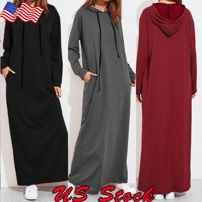 Womens Long Sleeve Hooded Oversized Hoodie Sweatshirt Pullover Maxi Shirt Dress