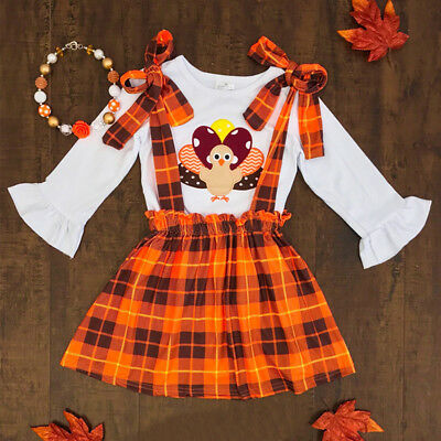 Thanksgiving Kids Baby Girl 3PCS Clothes Tops T-shirt+Tutu Skirt Dress Outfit US