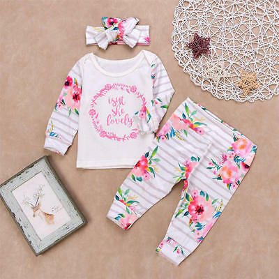 Newborn Baby Girls Toddler Floral Outfits Clothes T-shirt Tops Pants Headband UK