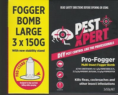 3 PACK PestXpert 150g  INSECT CONTROL BOMB  Cockroaches Fleas Insects  FREE SHIP