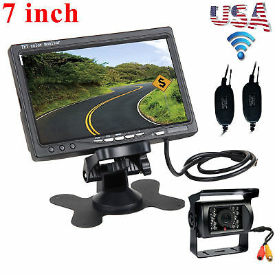 """7"""" Monitor+Wireless Rear View Backup Night Vision IR Camera System For Truck Bus"""