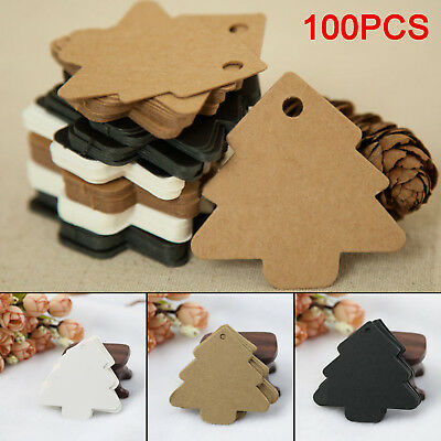 100 X Lovely Kraft Paper Christmas Tree Gift Parcel Tags Label Luggage + Strings