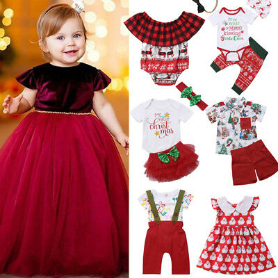 US Christmas Toddler Baby Girls Boys Top Romper Party Dress Pants Outfit Clothes