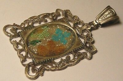 Micromosaic Egg Imperial Russian 84 Silver Easter Icon Cross Pendant