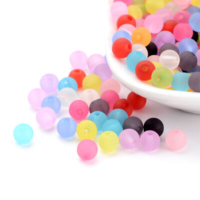 300 Colorful Transparent Acrylic Beads Smooth Ball Round Frosted Finish 6mm DIA