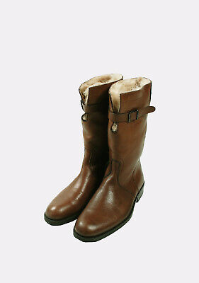 46e4c87605dc Original Gucci Brown Men Long Leather Real Fur Inside Boots Shoes in size 42