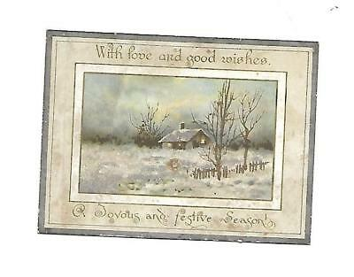 With Hope and Good Wishes Christmas Cabin in the Snow Glitter Vict Card c1880s