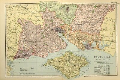 1895 Antique Map Hampshire South Isle Of Wight Southampton Portsmouth Bournemout