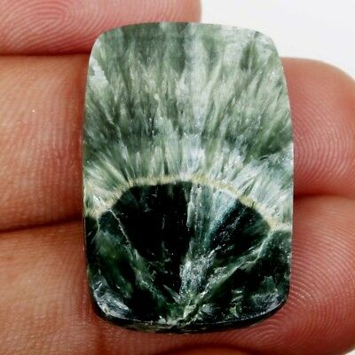 Cabochon 27x17 mm Gemstone Cushion Natural SERAPHINITE 16.5 Cts For Ring S-35603