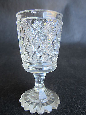 Antique Early & Fine Anglo-Irish Strawberry Diamond Cut Glass Cordial 1820-1840