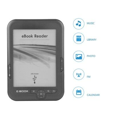 Lettore eBook 6 Pollici 4 GB con Schermo E-Ink HD Reader Portatile FM MP3 Player