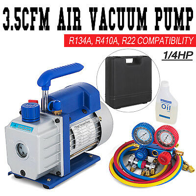 Combo 3.5CFM 1/4HP Air Vacuum Pump HVAC + R134A Kit AC A/C Manifold Gauge Set