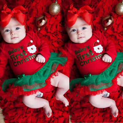 BABY'S FIRST CHRISTMAS Baby Girls Xmas Tutu Romper Dress Outfit Santa Costume US