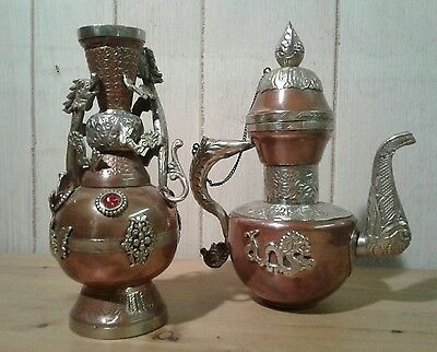 An antique/vintage Chinese white metal and copper vase and water jug
