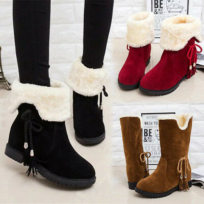 Womens Ladies Girls Ankle Flat Faux Fur Lined Boots Warm Winter Shoes Size 2-6