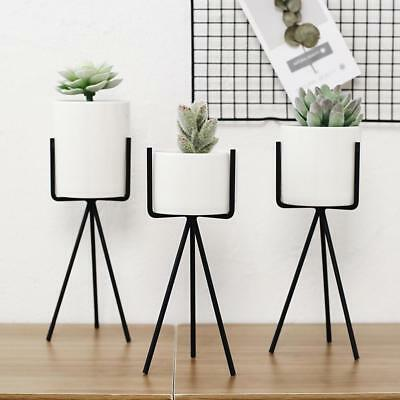 Iron Plant Vase Stand Garden Decor Planter Holder Ceramic Flower Pot Shelf Rack