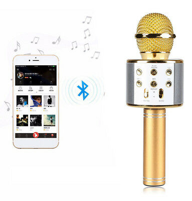 Wireless Bluetooth Karaoke Microphone Speaker Home Handheld KTV USB Player