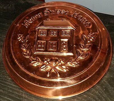 """10"""" Round Copper Home Sweet Home Jello Mold Wall Hanging Home Decor GUC"""