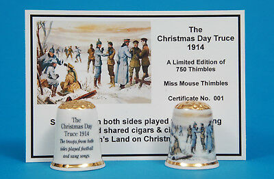 WW1 The Christmas Day Truce 1914 Ltd Edition Gold Top China Thimble+Card B/179