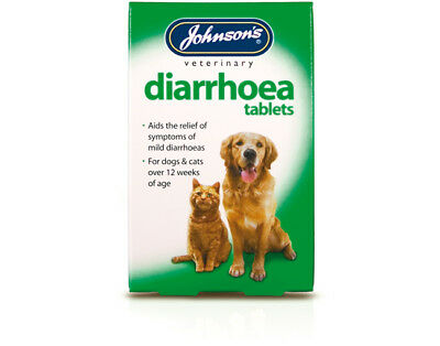 Johnsons DIARRHOEA TABLETS Loose Stool Stomach Calming Dog Cat Relief Treatment