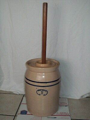 Antique 1916 Marshall Crock #3 ~ Blue Stripe ~ Vintage Butter Churn Crock w/ Lid