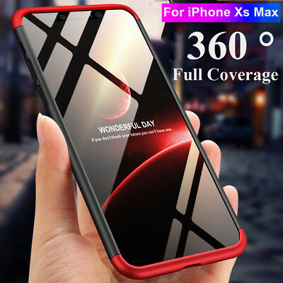 360° Slim Full Protective Hybrid Armor Case Cover for iPhone XS MAX/ XR+ 9H Film