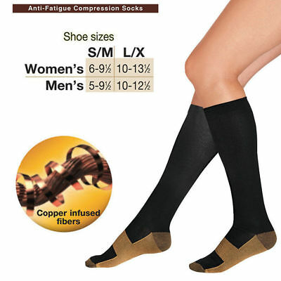 Compression Socks Knee High Copper Infused Anti Fatigue Sport Running Travel New