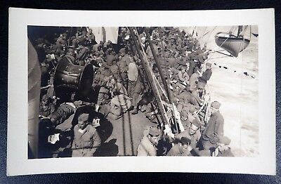 Us Army Soldiers On A Troop Transport Vintage Rppc Real Photo Postcard