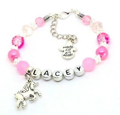 Personalised Princess Pink girls Unicorn Crystal pearl Bracelet party Girly gift
