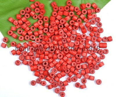 500pcs Bead Wood Tube Spacer Beads Red & 4x3MM