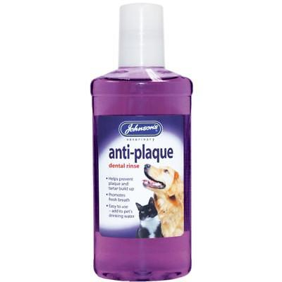 Johnsons ANTI PLAQUE Dental Rinse Water Additive Dog Cat Fresh Breath Oral Care