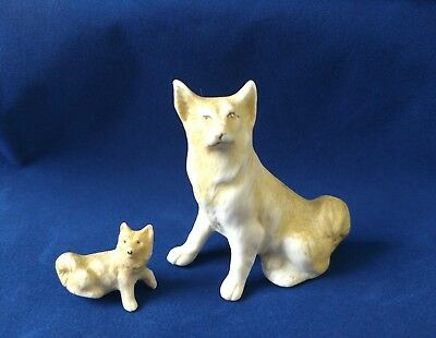 Vintage Spitz Dog Ceramic Porcelain Figurines Germany