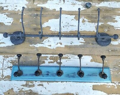 Vintage Painted Distressed Wall Coat Hooks Wood Ceramic Shabby Chic Retro Metal